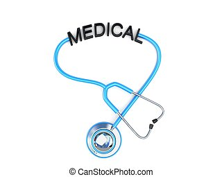 stethoscope and medical text