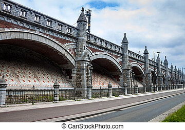 Ramparts along the train line to the central station in...