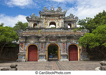 Gate to a Citadel in Hue, Vietnam. Citadel in Hue is...