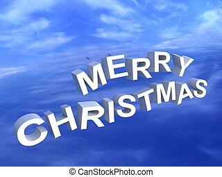 merry christmas text - isolated three dimensional merry...