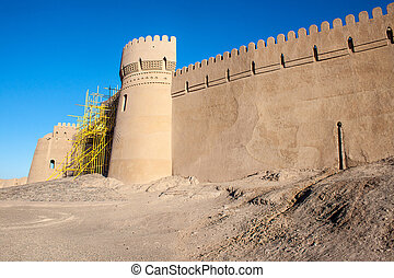 Fortification walls of ancient citadel of Bam, during...
