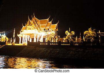 Night view of Wat Kasattrathirat Worawihan temple in...
