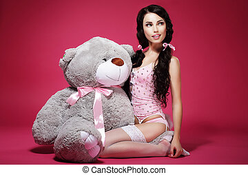 Sentiment. Valentine. Young Woman with Soft Toy Sitting....