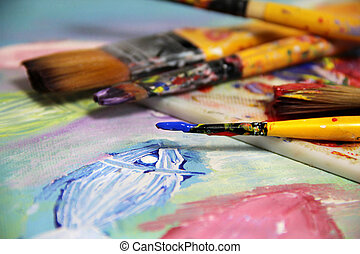 Art palette, picture and mix of paintbrushes - Art palette,...