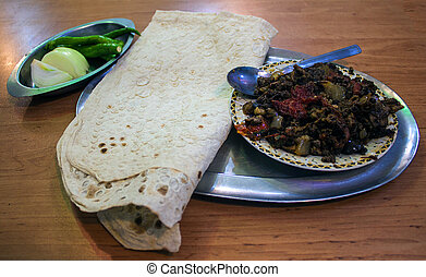 Food in Iran - meat with flat bread
