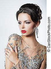 Eleganza, lussuoso, buono, dall'aspetto, donna, vestire,...