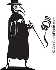 Plague Doctor - Medieval style woodcut image of a plague...