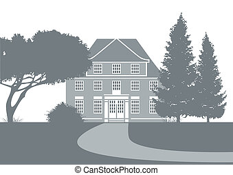 stylized illustration showing an old mansion in a park