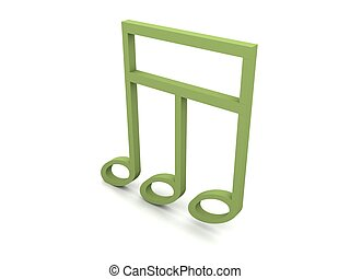 view of three dimensional green musical clef