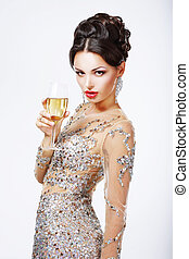 Elegant woman with a glass of champagne. - Elegant,...