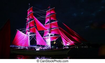schooner with red sails - HD1080: Sailing ships with red...