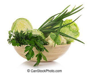Green vegetables in a bowl - Cauliflower, white cabbage, the...