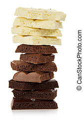 The chocolate tower of various parts isolated on white