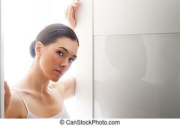 healthy face - beauty woman on the white background