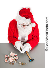 Santa counting coins - Santa had damaged his piggy bank and...