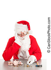 Santa counting coins - Santa had broken his piggy bank and...