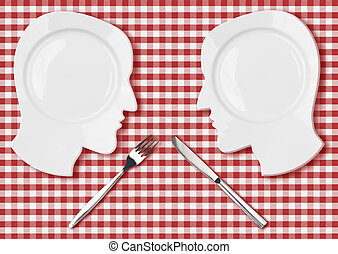 Two head plates with knife and fork concept