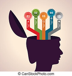 Human head with infographics - Illustration of thinking...