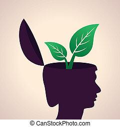 Human head with leaf icon