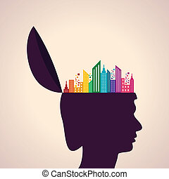 Human head with colorful building