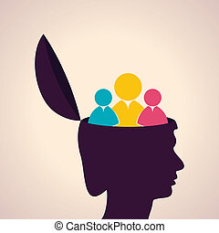 Human head with people icon