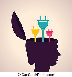 Human head with electric plugs - Illustration of thinking...