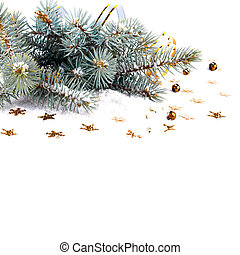 Christmas fir branch with gold streamers and stars on a...