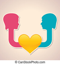 male and female face with heart sym - Illustration of male...