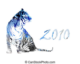 2010 year of the tiger - drawing photoshop, white metallic...