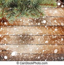 Natale, albero, ramo, innevato, legno, fondo