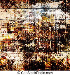 Grunge abstract newspaper background for design with old...