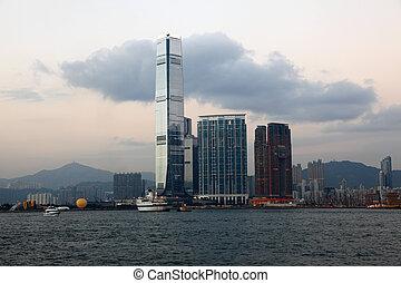 Skyline of Hong Kong at dusk