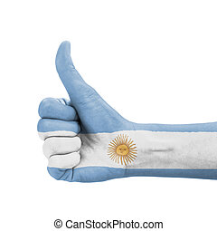 Hand with thumb up, Argentina flag painted as symbol of...