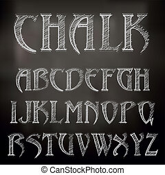 Vector sketched chalky alphabet on blackboard
