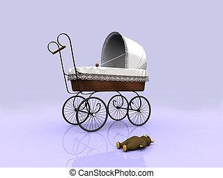 Old vintage pram and teddybear - An old vintage pram with a...