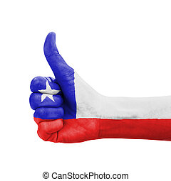 Hand with thumb up, Chile flag painted as symbol of...