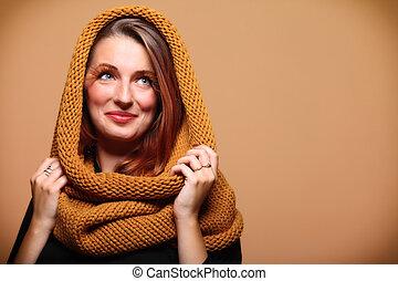 Autumn woman fresh girl glamour eye-lashes - Autumn woman in...