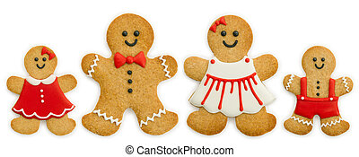 Gingerbread family isolated against a white background