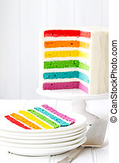 Rainbow layer cake - Brightly colored rainbow layer cake