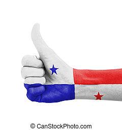mano, pulgar, Arriba, Panamá, bandera, pintado,...