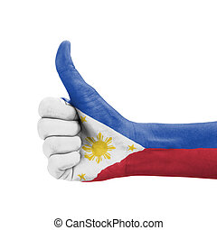 Hand with thumb up, Philippines flag painted as symbol of...