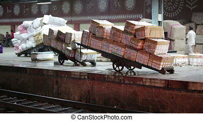 Goods ready for transportation assembled on platform