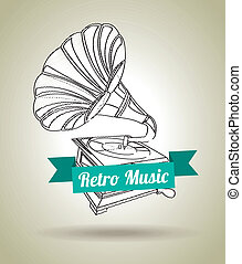 gramophone design over gray background vector illustration
