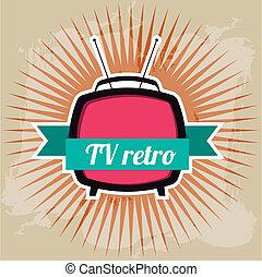 tv retro design over grunge background vector illustration