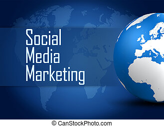 Social Media Marketing concept with globe on blue background...