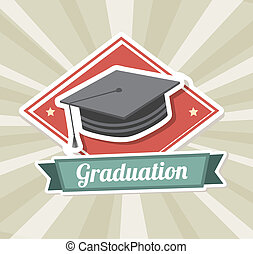 graduation label over grunge background vector illustration...