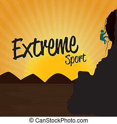 extreme sport over sunset background vector illustration