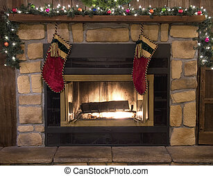 Christmas Fireplace Hearth and Stockings Landscape -...