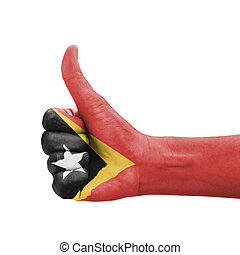 Hand with thumb up, Timor-Leste flag painted as symbol of...