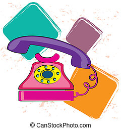 old phone over white background vector illustration